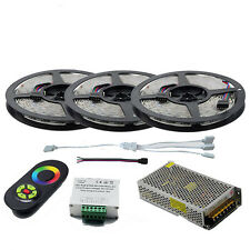 Full Kit 15M SMD 5050 RGB LED Strip Light 12V Tape+Touch Remote Controller+Power
