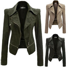 Women's Stylish Slim Fit Two-Way Motorcycle PU Leather Coat Jackets Tops Korean