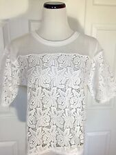 NWT ANN TAYLOR LOFT White Irresistible Lace Blossom Tee Top Size S