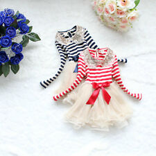 Pretty Girl's Red/navy sequins striped  tutu Party dress