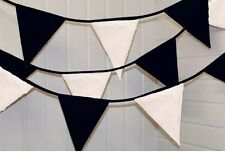 Black and White Fabric Bunting, per metre weddings, birthdays, party