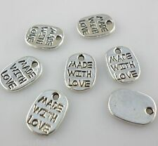 120/1000pcs Tibetan silver Lettering sign made with love Charms Pendants 8*11mm