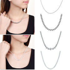 Charming Women Party Jewelry 4 Style Silver Plated Bead Chain Necklace Pendant