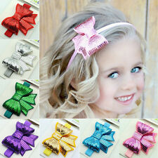 Baby Girls Sequin Bowknot Pattern for Headband Hair Band Bow Accessory Headwear