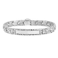 Men�s Solid 14K White Gold Plated Small Nugget Link ID Identification Bracelet