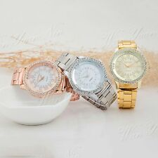 Stainless Steel Women's Lady's Crystal Quartz Analog Wrist Watch Rhinestone  New