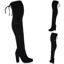 Womens Lace Up Pointed Toe Block Heel Over Knee Tall Boots Sz 3-8