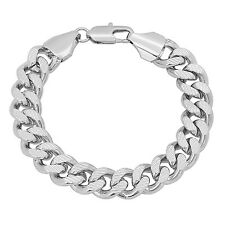 10mm Wide Mens White Gold Silver Plated/Layered/Plated Cuban Link Curb Bracelet