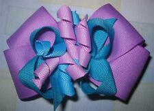Turquoise Blue Lavender Purple Boutique Hair Bow Korker Girls Baby Party Hairbow