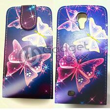 BLUE PINK & WHITE BUTTERFLY PRINT PU LEATHER FLIP CASE FOR SAMSUNG GALAXY S4