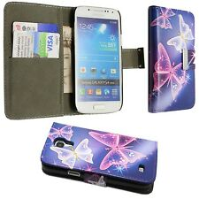 BLUE PINK WHITE BUTERFLYPRINTPU LEATHER BOOKFLIP CASE FOR SAMSUNG GALAXY S4 MINI