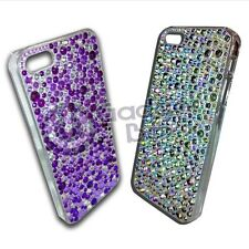 RHINESTONE DIAMANTE HARD BACK CASE COVER FOR APPLE IPHONE 5 IN SLIVER OR PURPLE