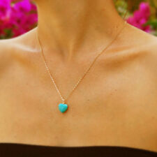 Lucky Small Turquoise Heart Shape Stone Pendant Necklace Silver Gold Tone Chain