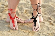 Retro Women Barefoot Handmade Crochet Foot Ankle Anklet Cotton Bracelet Chain