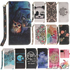 Patterned PU leather wallet phone case Flip carrying folio stand protective skin