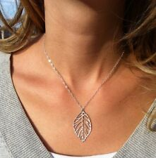 Fashion Women Gold Silver Plated Chain Hollow leaf pendant Charm necklace GIFT