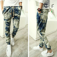 Fashion Men Casual Slim Fit Slack Trousers Linen Cotton Short Harem Sweats Pants