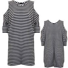 Womens Batwing Cold Shoulder Oversized Loose Tunic Top Slouch Stripe Dress