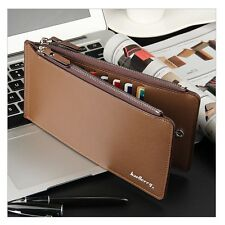 Mens Faux Leather Silm ID Card Holder Zip Wallet Purse Billfold Clutch Checkbook