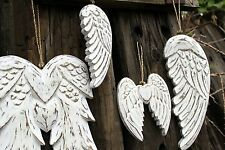 Hand Crafted Angel Wings -Wooden White Wash Vintage Style Distressed Shabby Chic