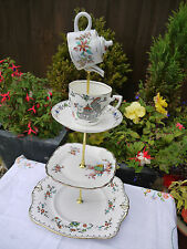 Quirky  Vintage art deco  hand painted mad hatter cake stand  mini teapot