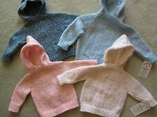 NEW! Hand Knit Baby Sweater with back zipper 6 months Pick Color tweed