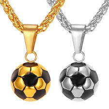 316L Stainless Steel Football Shaped Pendant Necklaces 18K Gold Plated Jewelry