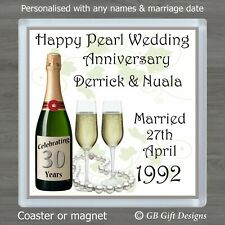 PERSONALISED 30th PEARL WEDDING ANNIVERSARY DRINKS COASTER / MAGNET GIFT