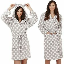 New Luxury Designer Ladies Grey Marl Spots Soft Short or Long Dressing Gown Robe