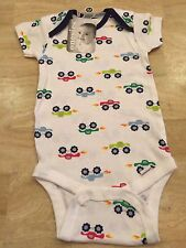 Boys Infant Onesies Blue Collar, White Background With Bright Multi-Color Trucks