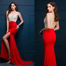 New Long Formal Evening Gown Bridesmaid Dress Crystal Prom Party Dress Wedding