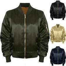 Ladies Ma1 Vintage Stylish Padded Lined Shiny Satin Biker Bomber Jacket Coat