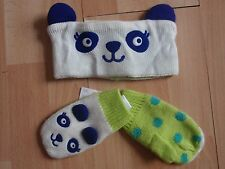 NWT GIRLS GYMBOREE SZ 0-12, 12-24 MONTHS EARWARMER, MITTENS COLOR HAPPY
