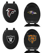 FC903 NFL THEMED BLACK FINISH MOLDED WOOD ELONGATED TOILET SEAT COVER LID