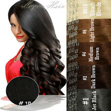 Deluxe Thick Clip in Remy Human Hair Extensions Double Weft Full Head 250G SU405