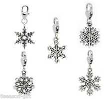Wholesale Gift Christmas Snowflake Clip On Charm Fit Chain Bracelet