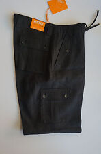 100% Linen cargo style black mens pants by INSERCH with drawstring (Style:P3415)