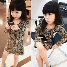 Fashion Kids Girl long Sleeves Round Collar Leopard Casual Party Dress AN18
