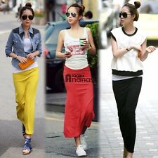 AN18 Women Casual Slim Long Skirt Elastic Waist Side Split Maxi Pencil Skirts