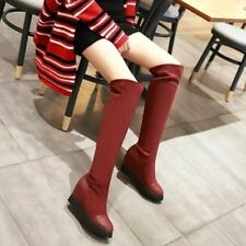 New Womens Faux Suede Wedge High Heels Shoes Over Knee Thigh Boots Winter Slouch