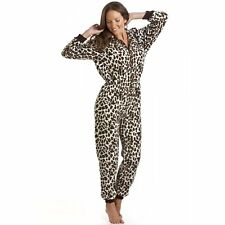 Camille Womens Ladies Adult Cat Snow Leopard All In One Onesie Pyjama Jumpsuit