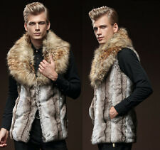 New Men's Faux Rabbit Fur Coat Jacket Winter Warm Fur Lapel Gilet Vest Waistcoat
