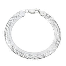 9 mm Wide Solid .925 Italy Stamped Sterling Silver Herringbone Chain Bracelet