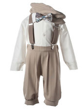 NEW Boys Tan Knicker Set with Vest, Hat, and Handmade Blue Paisley Bow Tie
