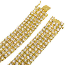 Mens 4-Row Gold Plated Iced Out Hip Hop Bling Solid Chain/Necklace White CZ