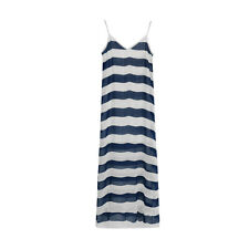 Women Backless Deep V Neck Stripes Printed Maxi Dress