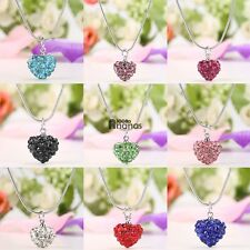 Charming Women Rhinestone Crystal Alloy Heart Necklace Jewelry Pendant AN18