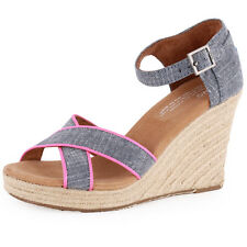 Toms Strappy Wedge Womens Wedges Chambray New Shoes