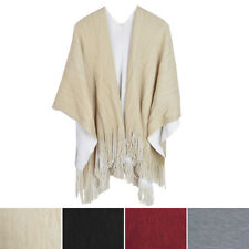 Premium Two Tone Reversible Soft Knit Fringe Shawl Wrap Poncho Cape- Diff Colors