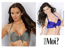 Pour Moi Azure Underwired Padded Bikini Top 1122 Royal Blue or Stone Grey * New